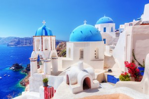 Oia town on Santorini island, Greece. Traditional and famous whi