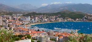 Aerial view of the Ajaccio town with main quay and marina. Ajaccio. Corsica, France.