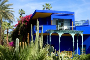 Marrakech, Morocco - March 27, 2006: The modern architectures with calls of the tradition of the Majorelle villa, seen from the gardens