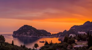 Paleokastritsa at sunset in COrfu Greece