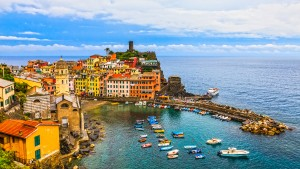 Panoramic view of beautiful Vernazza in Cinque Terre Italy.